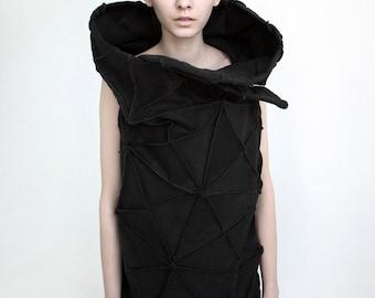 Origami sleeveless jacket/ geometrical vest/ 3d jacket