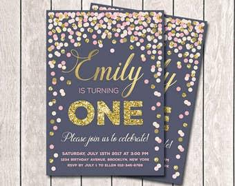 Navy Pink Ivory Gold Confetti Invitation Girl 1st Birthday Invitation Navy Pink And Gold Birthday Invitation Any Age Printable Invitation