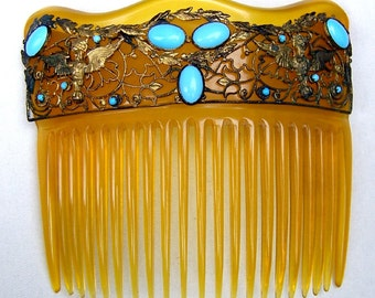 Victorian Hair Comb Blonde Celluloid with Turquoise Cabochon Design Hair Accessory, Victorian Comb, Edwardian Comb, Hair Jewelry