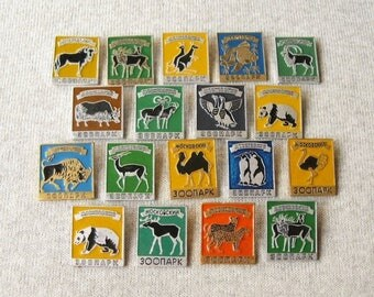 Zoo Pins, Moscow Zoo, Wild Animal Pins, Zoo Brooches, Animal Lover