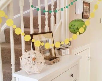 Yellow Circles Paper Garland, Eid Decor, Spring, Nursery Decor, Wedding