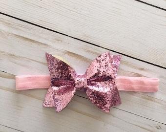 Pink Glitter Bow Headband - Glitter Bow - Pink Glitter - Stretchy Headband - Bow Headband - Toddler Girl Headband - Girls Headband - Pink
