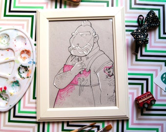 Vintage original ink illustration | Bearded Barber draw | Gift for him | Original Home Decoration