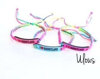 Disneyland Bracelet,I love Disneyland Bracelet, Slap Bracelet, Disney Bracelet, Braided Bracelet, Disneyland Bracelet, Bracelet