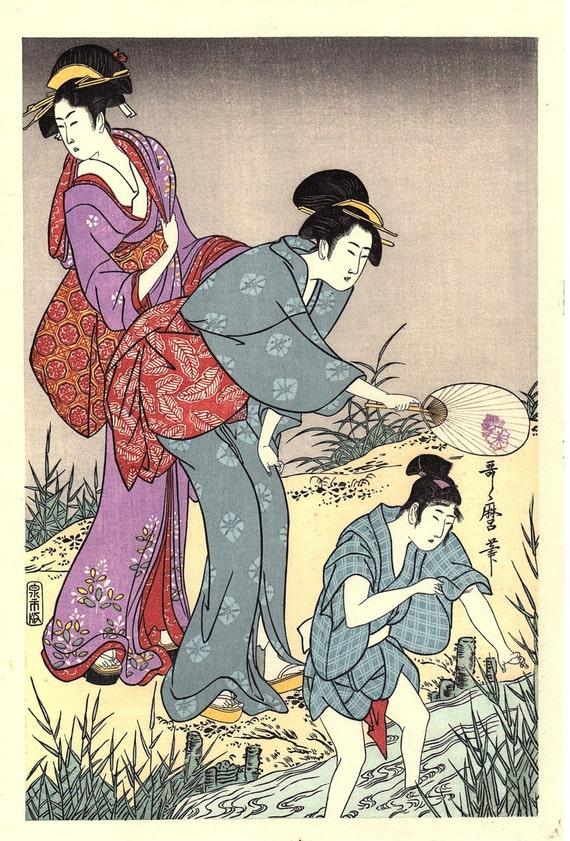 "Japanese Ukiyoe, Woodblock print, Utamaro, ""Catching Fireflies"""