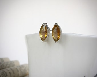 Sterling Silver Marquise Cut Yellow Topaz Post Earrings
