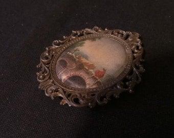 SALE Vintage Dollhouse Miniature Large Painted Silk Landscape Figural Pastoral Painting Art Frame