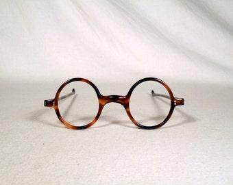 fabulous vintage sunglasses lunettes eyeglasses 1940 round carved frame france rare