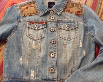 Boho Urban Crusty Denim Jean Jacket with Tapestry Patches