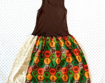 Settlers of Catan tank dress, board game clothing, vintage map, British map dress, kids board game, Catan dress, kids of Catan