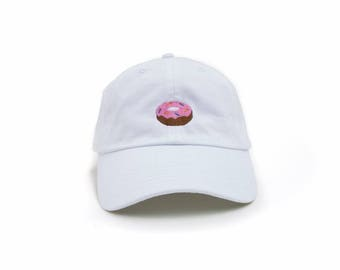 Donut Hat, Donut Dad Hat, Donut Baseball Cap, Embroidered Baseball Cap, Adjustable Strap Back Baseball Cap, Low Profile, White