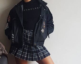 Ripped Black Denim Jacket Size S W/ Embroidered Patches