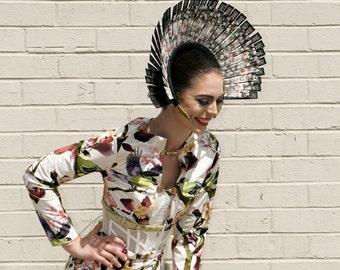 Herat Suede Crop Top, Skirt & Straw Hat: floral, races, racewear, fascinator, suit, boho, white, pink, birds, parrot, buckle
