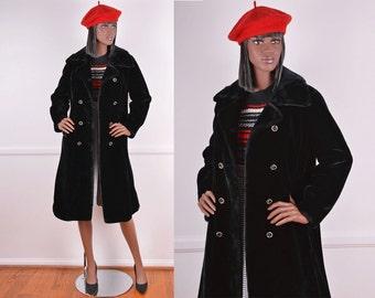 60s Black Faux Fur Coat/ Vintage/ Winter/ Long/ Black/ Coat/ Trench coat/