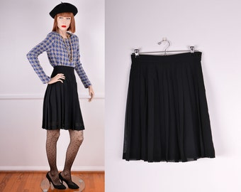 90s Deadstock Black Pleated Chiffon Skirt/ Size: Small