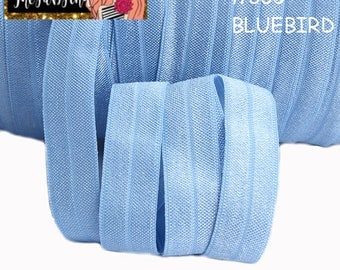 "5/8"" inch Blue bird #333 FOE Fold Over Elastic - Solid Color - By the Yard- Shiny DIY For Headband - Light blue"