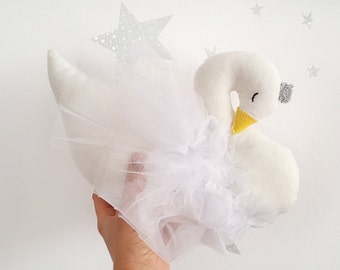Stuffed Swan nursery decoration pillow, cygne, swan soft sculpture with yellow beak and silver crown, newborn baby girl birthday gift