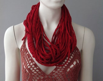 Burgundy Cotton Jersey Scarf, layered scarf, infinity scarf