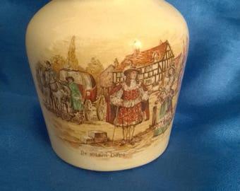 Sandland Ware Pottery Pot, 'Ye Olden Days' Design on Side