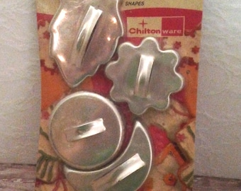 Vintage Cookie Cutters in Original Package, Vintage Aluminum Cookie Cutters, Aluminum Cookie Cutters