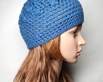 Blue PAT Crocheted Hat - Hand Made Crocheted Hat - Blue Beanie Hat - Woman Hat - Ready To Ship