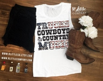Trucks Cowboys and Country Music Women's Festival Tank XS-4XL // Stagecoach // Country Concert // Country Thunder