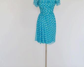 VTG Little Blue Polka Dot Print Chiffon Dress by Adele Simpson