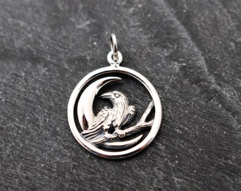 Sterling Silver Moon Raven Pendant, Charm
