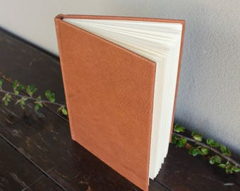 Leather hardcover notebook - beige paper sketchbook - ginger - travel - art journal - writing creative journal - blank - gift idea