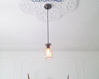 Mason jar ceiling light vintage Industrial, Antique Edison Bulb, Mason Jar Lamp, Rustic Lighting