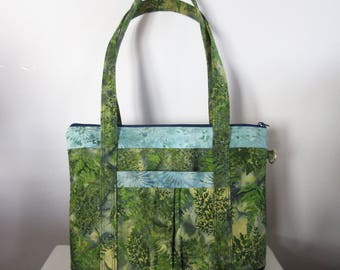 Large Tote-Style Fabric Handbag with Zipper Closure