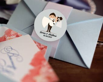 Bride and Groom Custom Labels - Personalized Stickers -  Round Stickers - Bridal Shower - Color Coordinated - Wedding Decor - Thank you