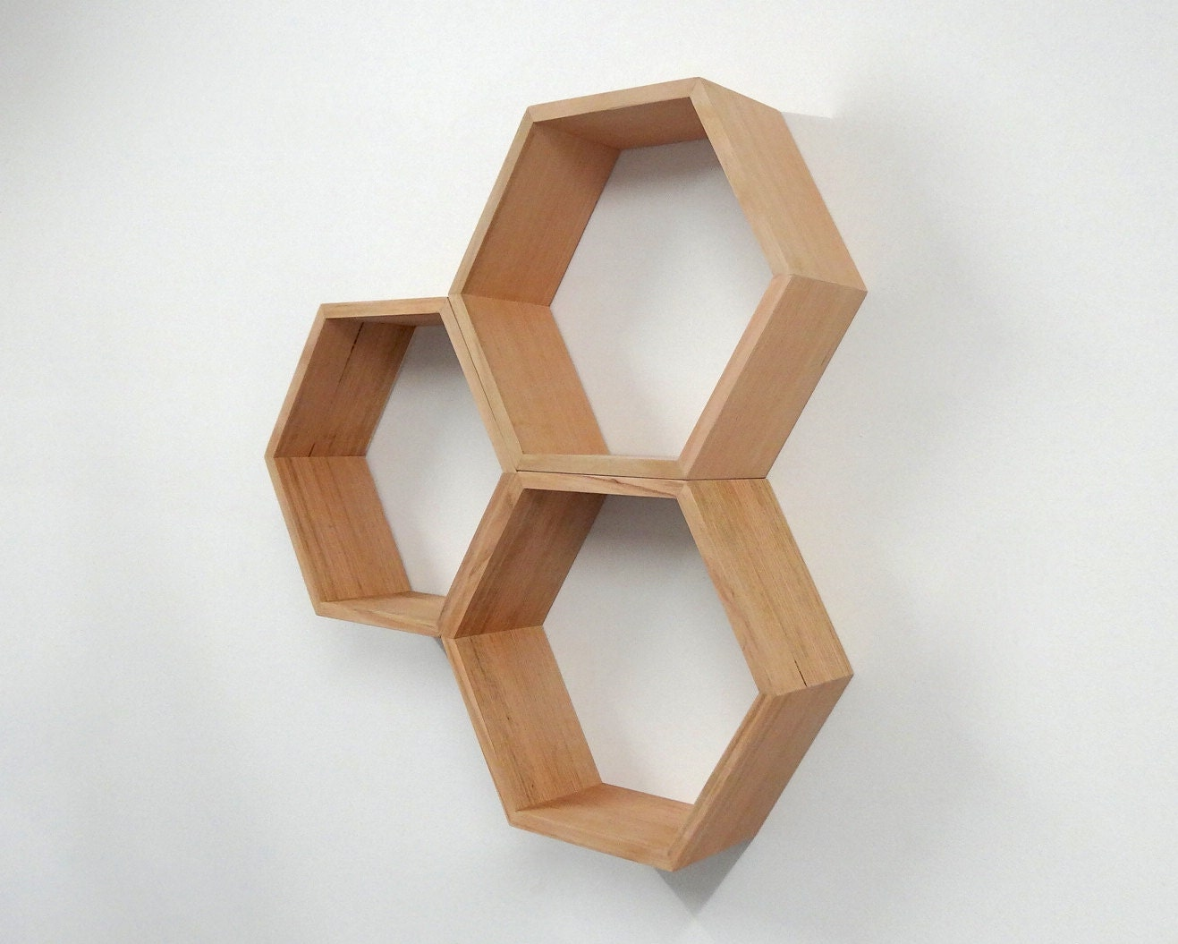 hexagon wooden shelf shadow box tasmanian oak. Black Bedroom Furniture Sets. Home Design Ideas
