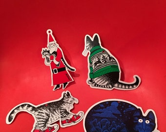Vintage Kliban Cat Christmas Ornaments, Set of 4, Gift Tags, Cat with Red Sneakers, Retro Christmas Ornaments, Black and White Cat Ornaments