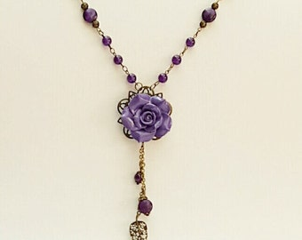 Long Purple Amethyst Drop Necklace, Amethyst Jewelry, Purple Jewelry, Roaring 20s, Australian Made, Purple Gemstone, Gift for Her, Chakra