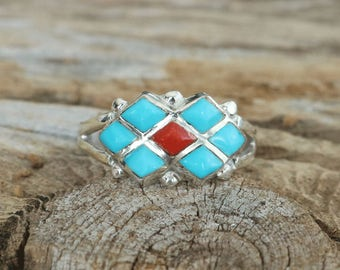 native american jewelry,turquoise ring,turquoise rings,ring,turquoise,native american ring,zuni,Native American, Zuni Coral & Turquoise Ring