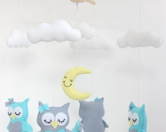 READY TO SHIP  - Owls with Moon and Clouds Mobile, Baby Mobile, Mobile, Nursery Mobile, Nursery Decor, Felt Mobile, Crib Mobile
