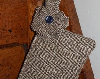 Small brown & white herringbone wool tweed bag with strap
