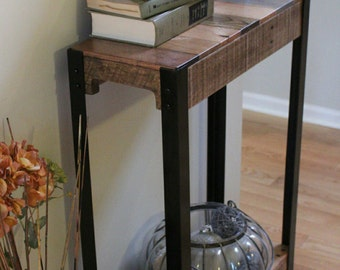 Reclaimed Wood and Steel Console Table, Reclaimed Wood Sofa Table, Rustic Console Table, Industrial Steel Leg Table, Industrial Entry Table