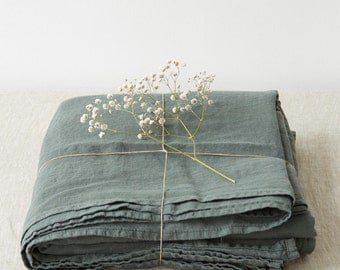 Forest Green Stone Washed Linen Bed Sheet