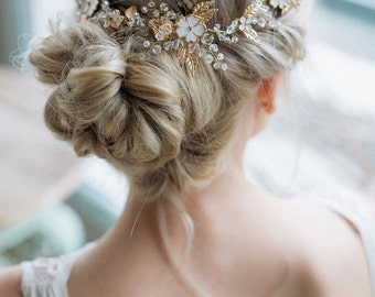 Bridal Hair Comb, Bridal headpiece, Flowers Hair Comb, Wedding Hair Accessories, Wedding Hairpiece, Bohemian headpiece