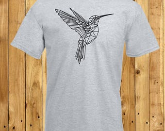 Hummingbird T-Shirt, Geometric Bird Tshirt, Triangular Animal Top, Mens Art T-Shirt, Boyfriend Birthday Gift, Husband Christmas Gift, Xmas