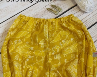 Baby bloomers mustard, Bloomer mustard, Diaper cover mustard, Baby bubble shorts mustard ,  Girl bubble shorts,  Sizes Newborn 0-3m to 10