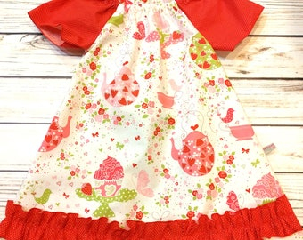 Girls dress flutter sleeves, Girls dress tea party, Girls birthday dress, Dress ruffles, flutter sleeves, 4T Ready to ship