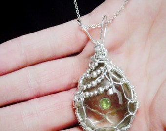 Sterling Silver Wire Weave Captured Natural Rutilated Quartz  Embeded Natural Peridot Pendant By Nickole Schmidt For WimsicalGlassography