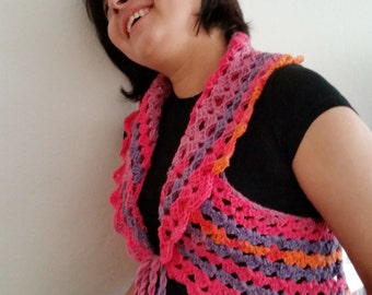 Crochet Circular Vest. Multi Colored Vest. Crochet Shrug. Crochet Lace Vest. Bohemian Vest. Gift for Girls. Women Crochet Outfit. Lace Vest