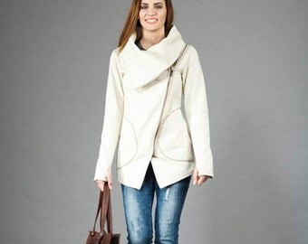 Women's Sweatshirt, Sweatshirt with Asymmetrical Front Zipper, Creamy Sweatshirt, Large Cowl Neck Sweatshirt, Hand Made,clothesNavaho