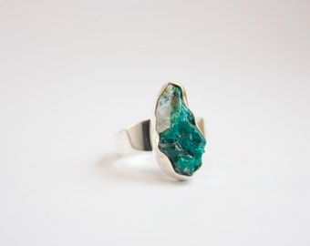 One of a Kind Raw Rare Dioptase Ring set in Sterling Silver with Adjustable Band