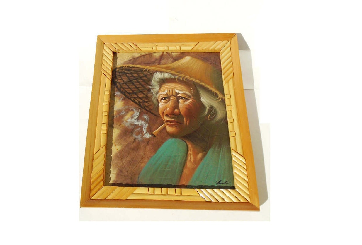 tobacco leaf painting thai art oil painting framed oil painting tobacco art painting art