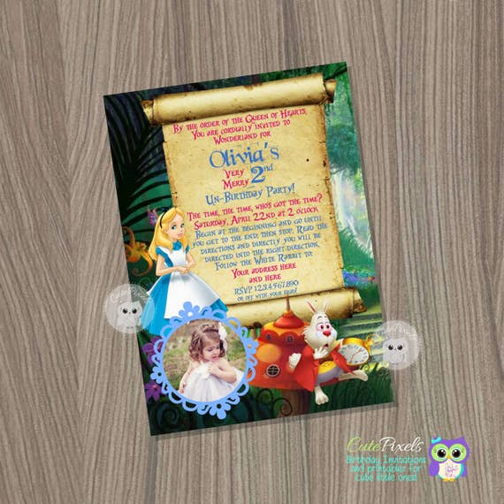 Alice In Wonderland Invitation Alice In Wonderland Birthday Party
